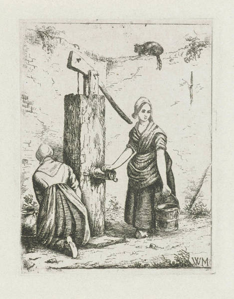 Two Women At A Water Pump, Christiaan Wilhelmus Moorrees Poster