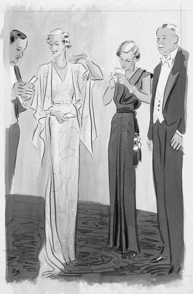 Two Women In Evening Gowns With Older Men Poster