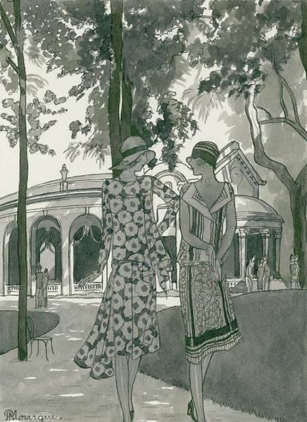 Two Women Walking In A Park Poster