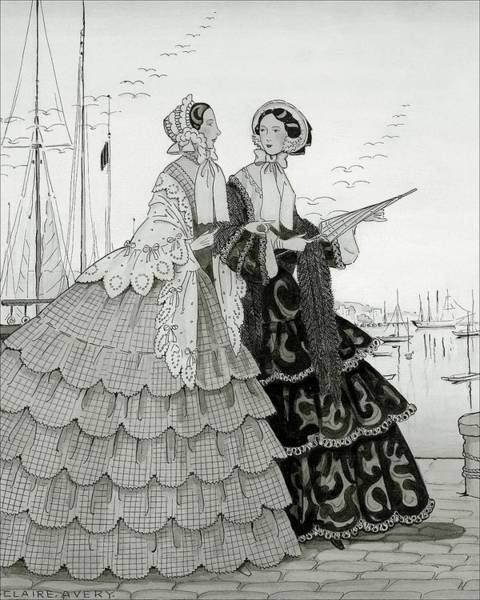 Two Women Wearing Large Dresses With Hoop Skirts Poster