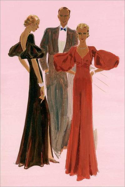 Two Women Wearing Mainbocher Evening Gowns Poster