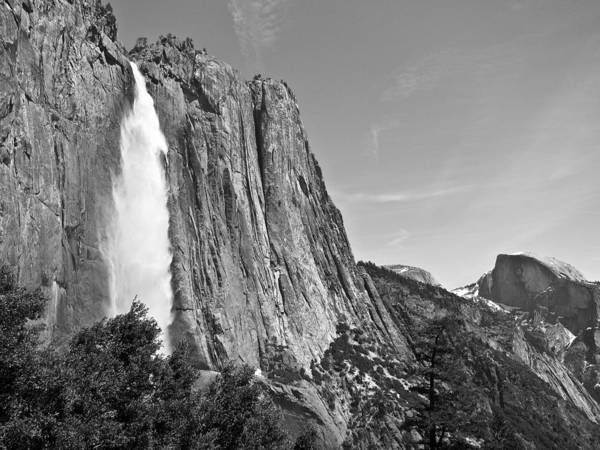 Upper Yosemite Fall With Half Dome Poster