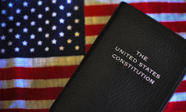 United States Constitution And Flag Poster