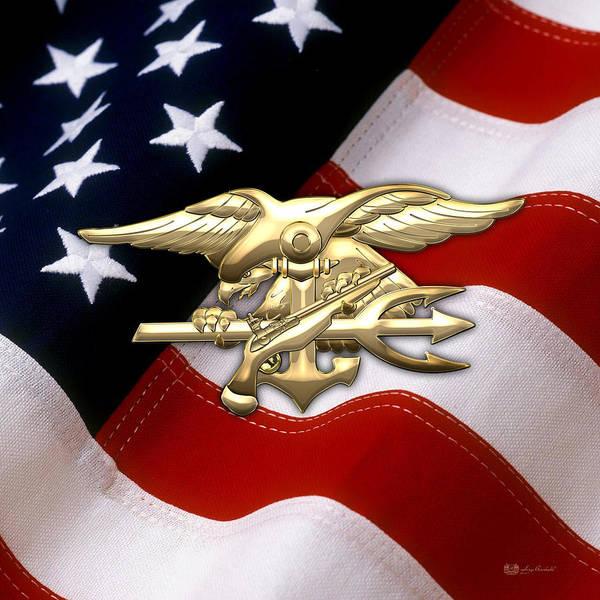 U. S. Navy S E A Ls Emblem Over American Flag Poster