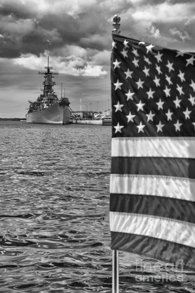 Poster featuring the photograph Usa Flag At Pearl Harbor Mono by Kate McKenna