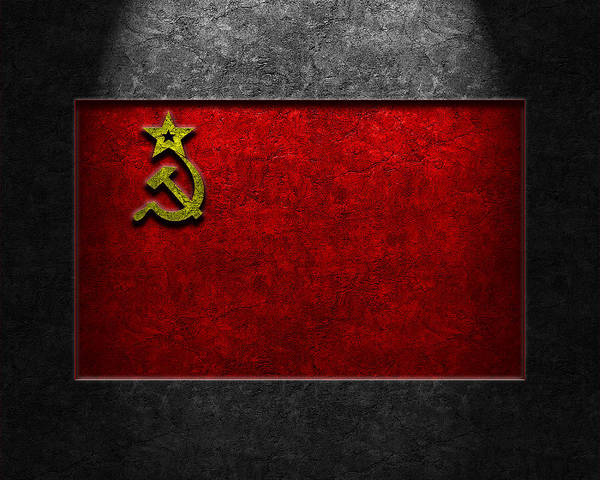 Poster featuring the digital art Ussr Flag Stone Texture by The Learning Curve Photography