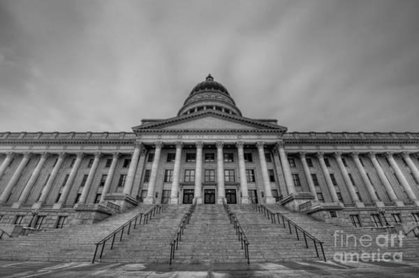 Utah State Capitol Building Bw Poster