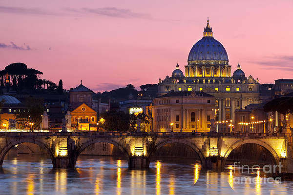 Poster featuring the photograph Vatican Twilight by Brian Jannsen