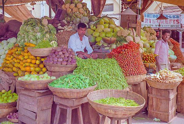 Vegetable Seller In Indian Market Poster