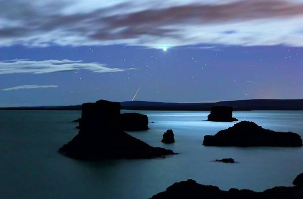 Venus And Meteor Over Reservoir Poster