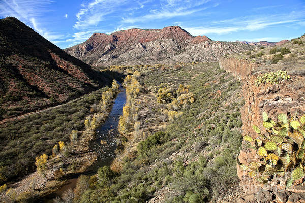Verde River Along The Verde Canyon Railway With Fall Colors In Arizona Poster