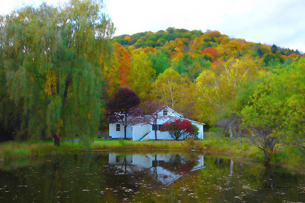 Vermont House In Full Autumn Poster