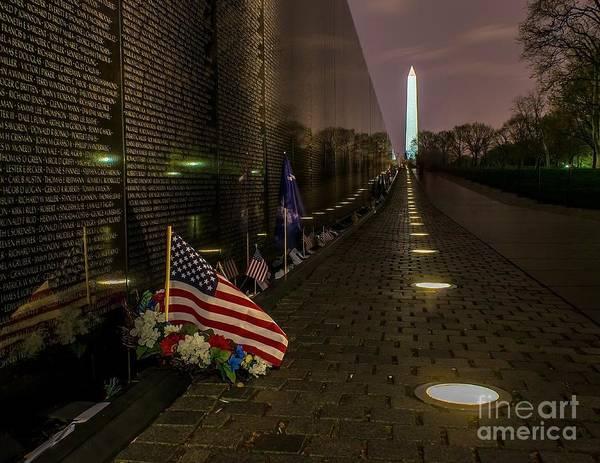 Vietnam Veterans Memorial At Night Poster