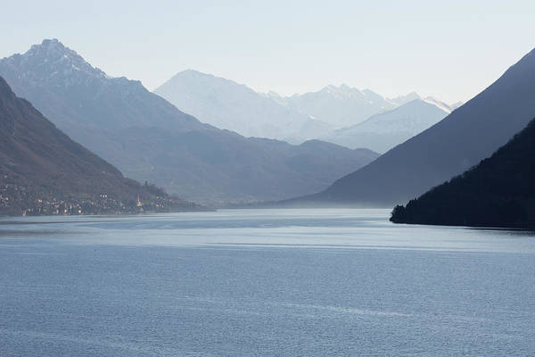 View Down Lake To Snow Capped Mountain Poster