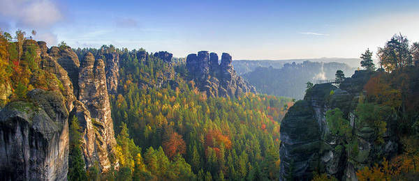 View From The Bastei Bridge In The Saxon Switzerland Poster