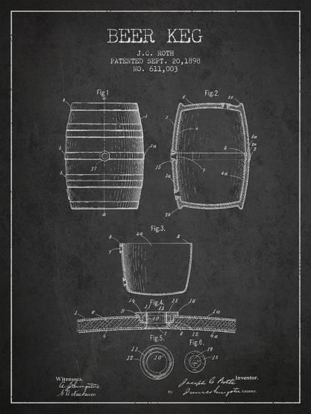 Vintage Beer Keg Patent Drawing From 1898 - Dark Poster