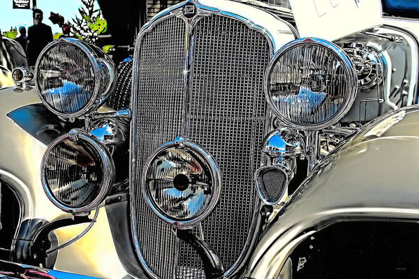 Vintage Car Art Buick Grill And Headlight Hdr Poster