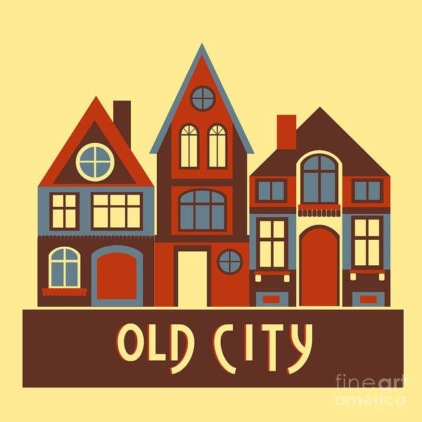 Vintage City Houses On Yellow Background Poster