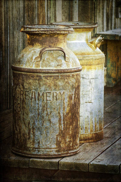Vintage Creamery Cans In 1880 Town In South Dakota Poster