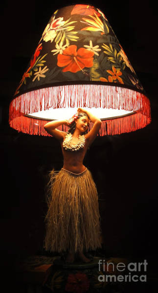 Vintage Hula Girl Lamp Poster