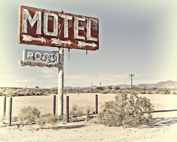 Poster featuring the photograph Vintage Motel Pool Sign by Gigi Ebert