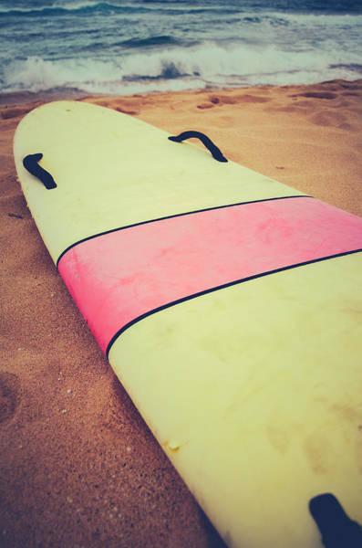 Vintage Surf Board In Hawaii Poster