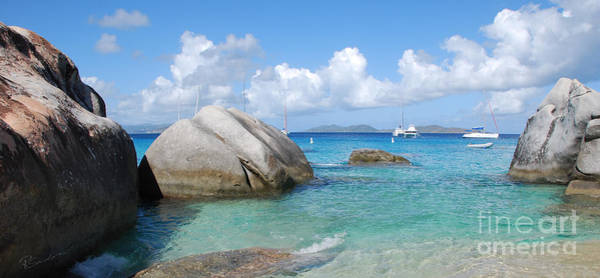 Virgin Islands The Baths With Boats Poster