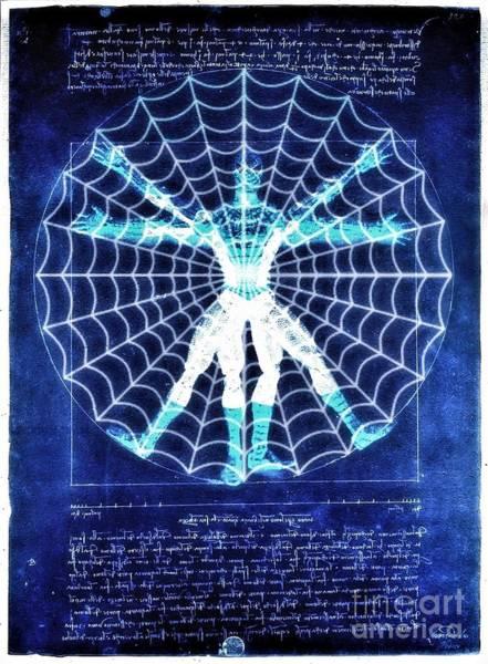 Vitruvian Spiderman White In The Sky Poster