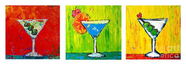 Vodka Martini Collection Bar Decor - Modern Art Poster