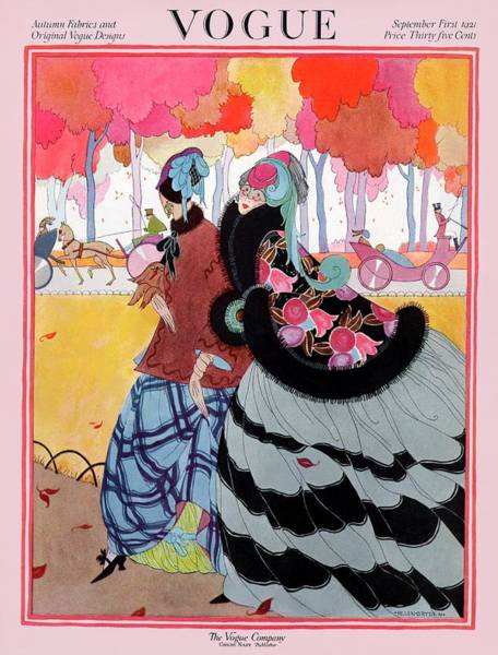 Vogue Cover Featuring Two Women At A Park Poster