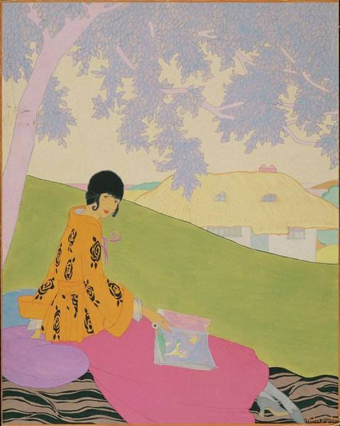 Vogue Illustration Of A Woman Sitting On A Hill Poster