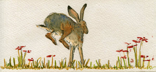 Walking Hare Poster