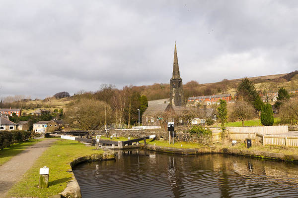 Walsden Church And Canal Lock Poster
