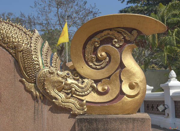Wat Chedi Liem Phra Ubosot Makara And Stylized Naga Dthcm0838 Poster