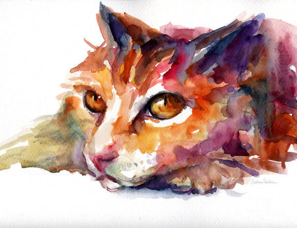 Watercolor Orange Tubby Cat Poster