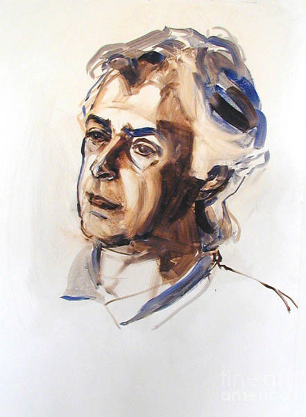 Watercolor Portrait Sketch Of A Man In Monochrome Poster