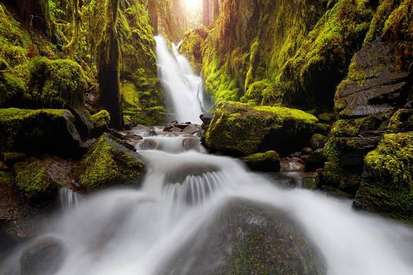 Waterfall Glow Poster