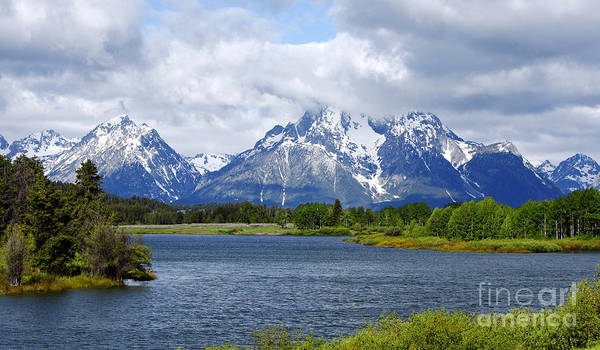 Weather On The Teton Mountain Range At Oxbow Bend Poster