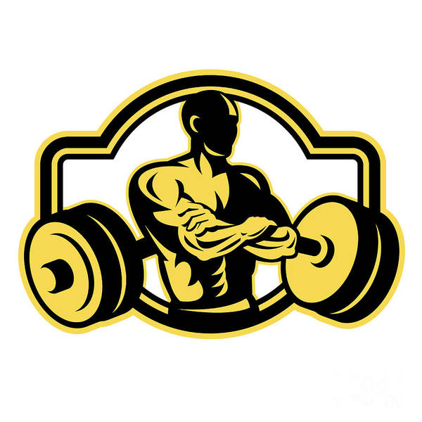 Weightlifter Arms Crossed Barbell Retro Poster