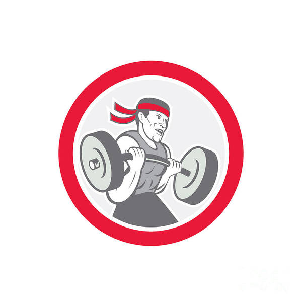 Weightlifter Lifting Barbell Circle Cartoon Poster