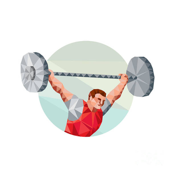 Weightlifter Lifting Barbell Circle Low Polygon Poster