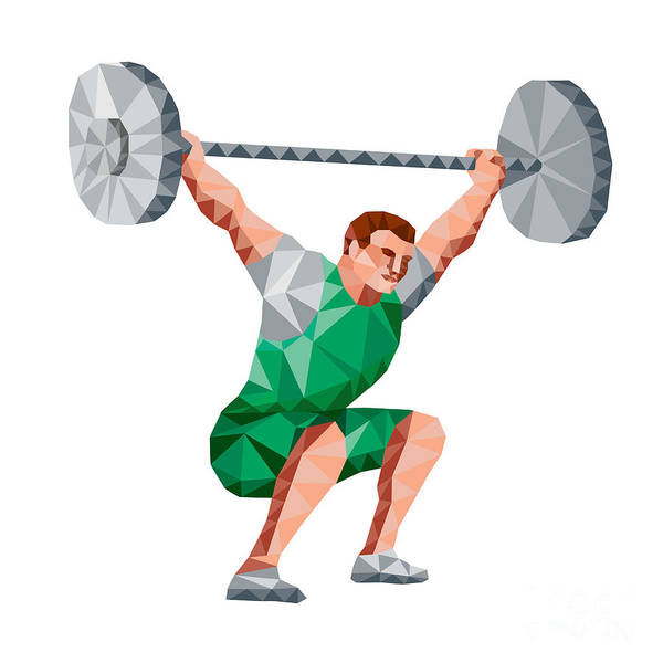 Weightlifter Lifting Barbell Low Polygon Poster