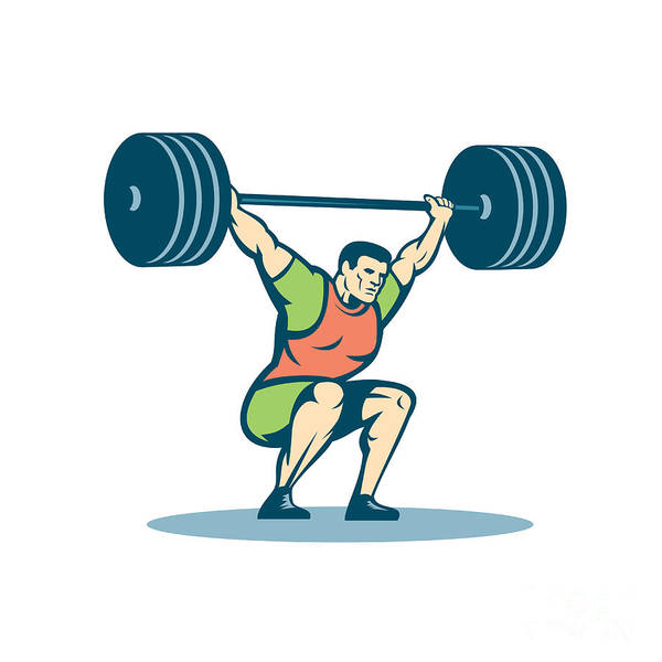 Weightlifter Lifting Barbell Retro Poster
