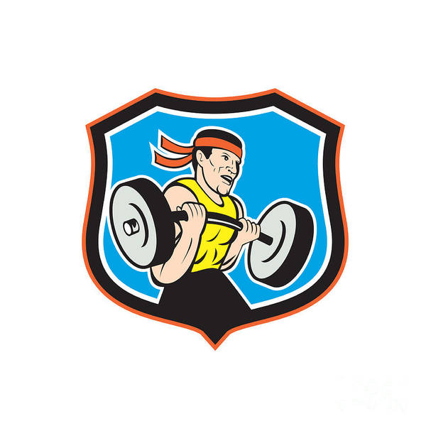 Weightlifter Lifting Barbell Shield Cartoon Poster