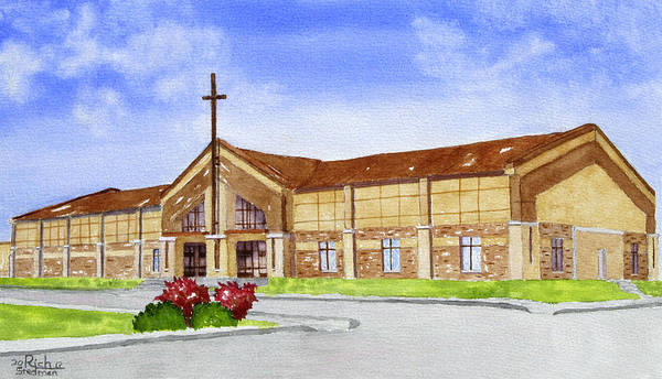 Poster featuring the painting Wesleyan Church by Rich Stedman
