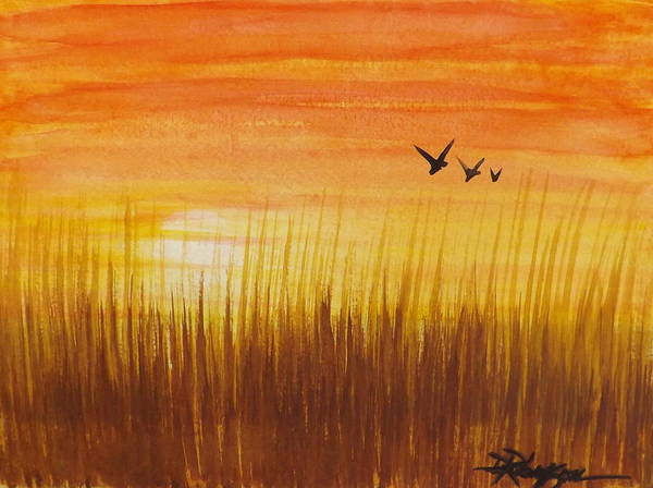 Wheatfield At Sunset Poster