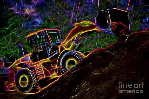 Wheel Loader Moving Dirt - Neon Poster