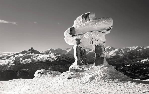Whistler Summit Inukshuk Black And White Poster
