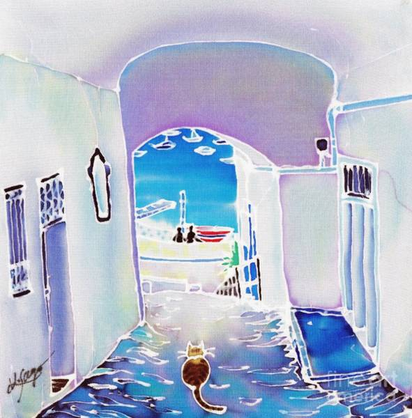 Poster featuring the painting White And Blue 1 by Hisayo Ohta