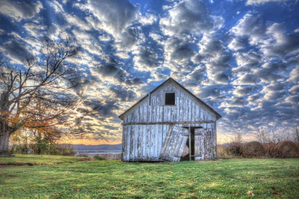 White Barn At Sunrise Poster